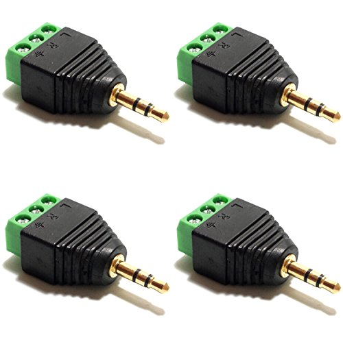 CESS 3.5mm Stereo Balanced Male Plug/Female Jack to AV Screw Video Balun Terminal (LW) (4