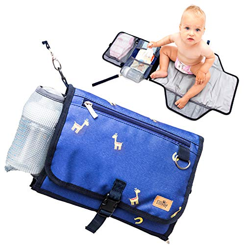 ElliFay Portable Diaper Changing Pad with Baby Bottle Holder, Foldable Travel Changing Station, Diaper Clutch with Waterproof Mat, Organizer Bag for Newborns and Toddlers