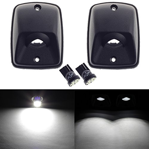 HERCOO LED License Plate Light Lamp Lens White Bulbs Black Housing Compatible with 1995-2004 Toyota Tacoma Pickup Truck Rear Step Bumper Aftermarket Replacement, Pack of 2 - License Lamp Lens