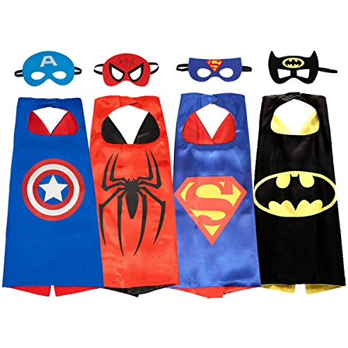 [NAGNACA Kids Comics Cartoon Hero Dress Up Costumes 4 Satin Capes with 4 Felt Masks] (Black Panther Costume Marvel)