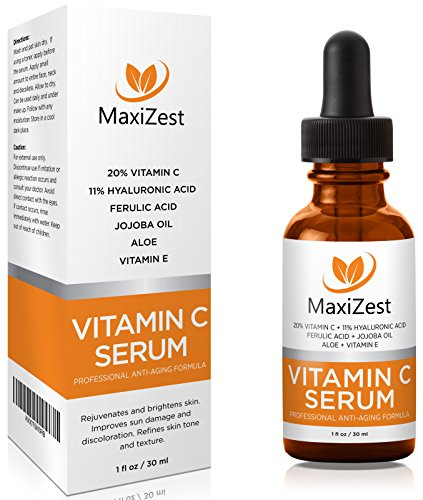 Vitamin C Serum For Face and Skin with 20% Vitamin C + E + Hyaluronic Acid – Our #1 BEST Serum to Fade Sun Spots & Discoloration – Rejuvenates & Brightens Skin – Guaranteed Glow! – 1oz (30ml)