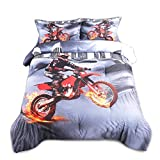 AMOR & AMORE 3D Racing Motorcycle Bedding Motocross Dirt Bike Themed Comforter Sets, 3pc Microfiber Men Teen Boys Kids Sports Bedding Sets with Pillowcases (Full Size)