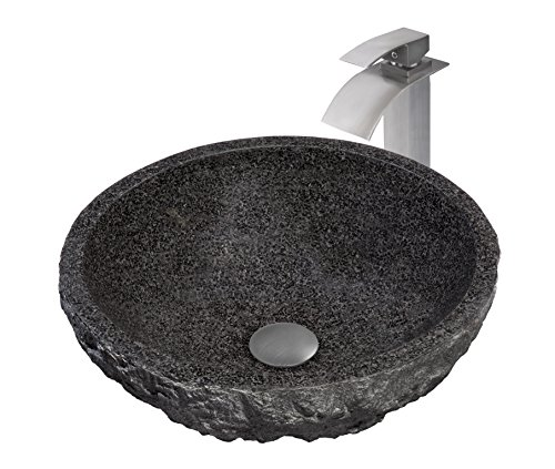 Novatto Absolute Natural Granite Stone Vessel Sink Set, Brushed Nickel Stone Lav Sink