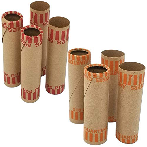 - J Mark Burst Resistant Preformed Quarter & Penny Coin Roll Wrappers, 60-Count Each (Penny/Quarter) Heavy Duty Cartridge-Style Coin Roller Tubes, Includes J Mark Coin Deposit Slip (60-Q & 60-P)