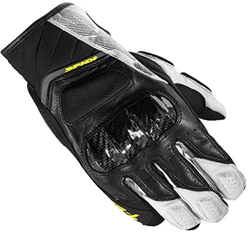 Spidi Sport S.R.L. A162-242 XL STR-4 Coupe Gloves, Distinct Name: Black/White/Yellow, Gender: Mens/Unisex, Primary Color: Black, Size: XL