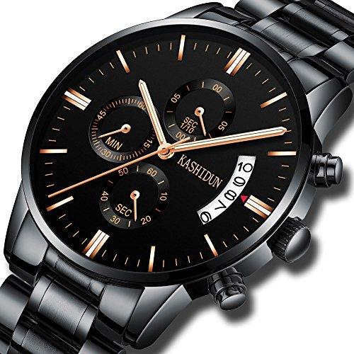 KASHIDUN Men's Watches Sports Military Luxury Fashion Casual Quartz Wristwatches Waterproof Chronograph Stainless Steel Band Black Color