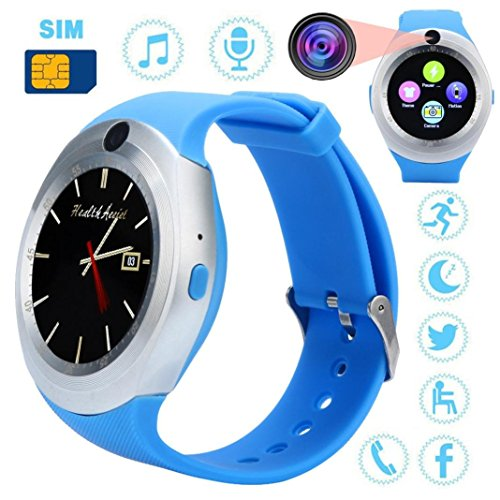 BT Smart Watch Phone Mate Full Round Screen SIM Camera for Android Clearance Sale (Blue) ()
