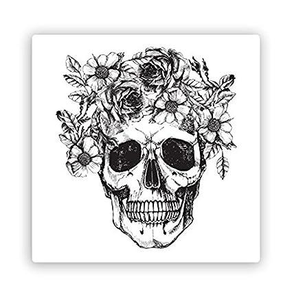 Amazon com: Skull with Flowers Vinyl Stickers Scary
