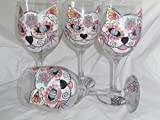 Hand Painted sugar skull cat and fish goblets. set of 4 Review