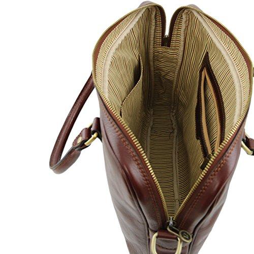 Tuscany Leather Prato Elegante porta folios y porta ordenador portátil en piel Marrón oscuro Porta ordenador en piel Rojo
