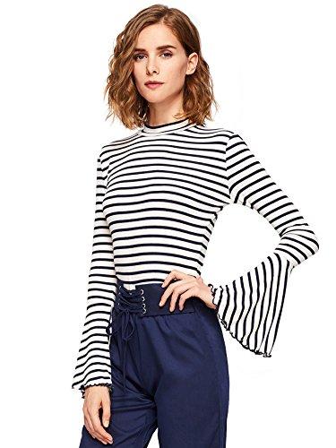 ROMWE Women's Striped Ruffle Long Bell Sleeve Mock Neck Tee Top Shirt White X-Small ()