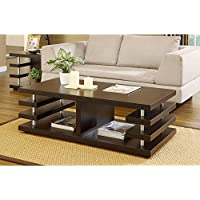 Metro Shop Furniture of America Architectural Inspired Dark Espresso Coffee Table--