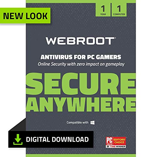 Webroot Antivirus Protection and Internet Security for PC Gamers 2019 Software   1 Year   1 Device  ...