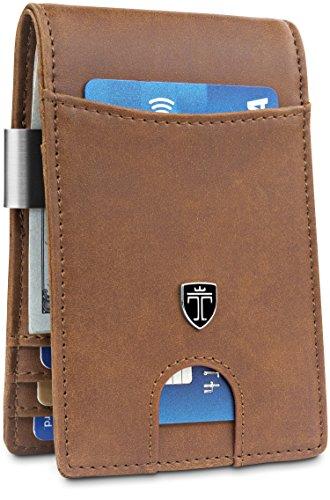 "TRAVANDO Money Clip Wallet""RIO"" Mens Wallet Front Pocket Wallet Slim Wallet RFID Blocking | Credit Card Holder | Minimalist Mini Bifold Gifts for Men (Carbon)"