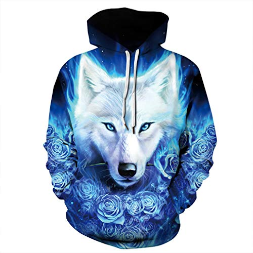 NEWCOSPLAY Unisex Harajuku Realistic 3D Digital Print Pullover Hoodie Hooded Sweatshirt Sweaters (XXL, Blue Rose Wolf) (Hooded Spandex Tunic)