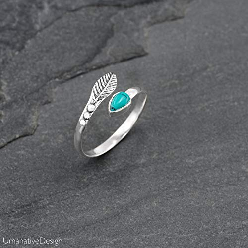 Toe Ring, Sterling Silver Open Adjustable Foot OR Midi Knuckle Ring with Turquoise Gemstone, Unique Bohemian Beach jewelry, Feather Shaped, Handmade Boho Wedding Accessories