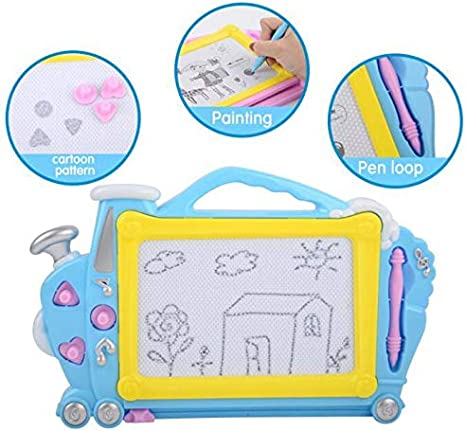 Sketching and Scribbling Erasable Big Size Doodle Pad with Stamps and Sticker Asuzu Educate Magnetic Drawing Board for Kids Writing Blue Toddlers