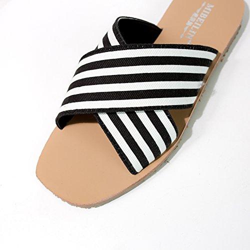 strips KJJDE Planos Zapatos 2 Chanclas Planas Toe Zapatillas XYM De Cruzadas Vendaje 555 Zapatos Rayas Sandalias Playa Mujer Peep Romanas Casuales De X1wRxX