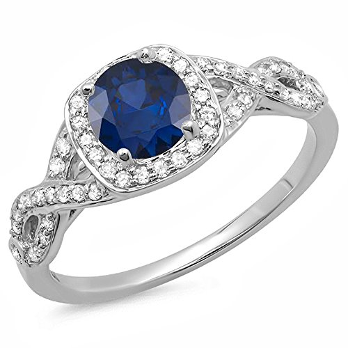 Dazzlingrock Collection 14K Round Blue Sapphire & White Diamond Swirl Split Shank Halo Engagement Ring, White Gold, Size 5