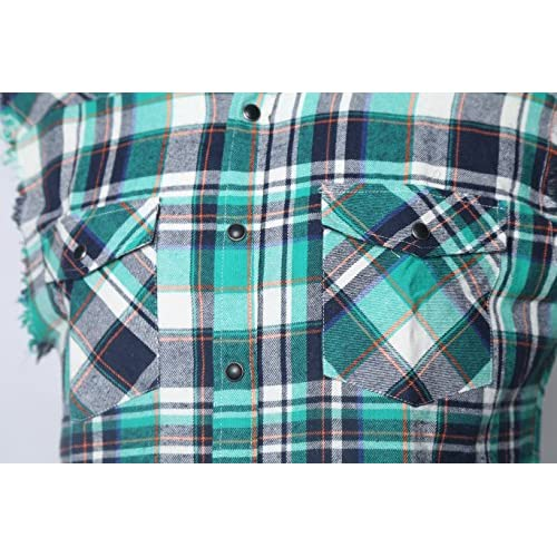 27cc8aac7cd1 NUTEXROL Men's Casual Flannel Plaid Shirt Sleeveless Cotton Plus Size Vest  well-wreapped