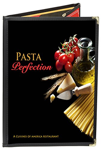 - 25 BETTER QUALITY Menu Covers #P123D BLACK DOUBLE PANEL FOLDOUT + ONE-HALF - 6-VIEW - 8.25 x 11 & 4.25 X 11 - DOUBLE-STITCH Leatherette Edge/Gold corners. SEE MORE: Type MenuCoverMan in Amazon search.