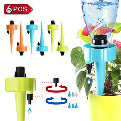 - Self Watering Spikes, Plant Waterer, Plant Watering Devices, Automatic Vacation Drip Irrigation Watering Bulbs Globes Stakes System with Slow Release Control Valve Switch for Potted Plants (6 pack)