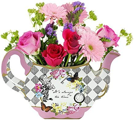 Amazon Com Talking Tables Alice In Wonderland Teapot Vase Flower Centrepiece For Mad Hatter Afternoon Tea Party Birthday Wedding Baby Shower Paper Pack Of 1 Height 17cm 7 Mixed Colors