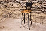 The Strong Oaks Wood Shop Brew Haus Industrial Style Bar Stools with Scooped Backs