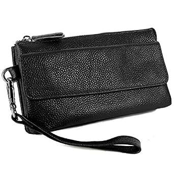 YALUXE Women's Leather Smartphone Wristlet Crossbody Clutch with RFID Blocking Card Slots Black