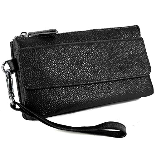 YALUXE Women's Leather Smartphone Wristlet Crossbody Clutch with RFID Blocking Card Slots Black