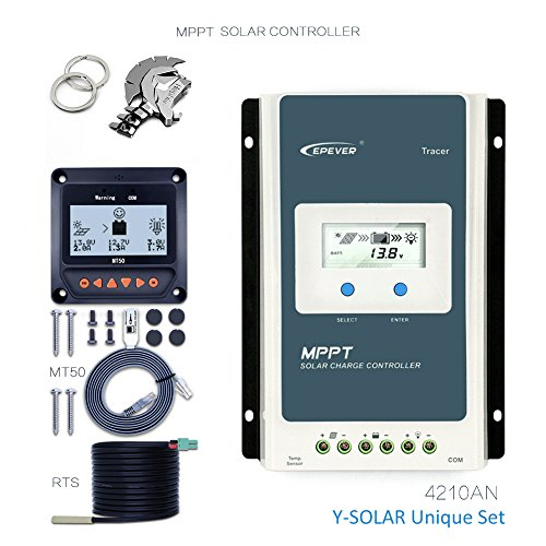 EPEVER 40A MPPT Solar Charge Controller 100V PV Negative Grounded Tracer 4210AN + Remote Meter MT-50 + Temp Sensor Solar Regulator with LCD Display for Gel Sealed Flooded Lithium Battery (Sensor Temp Solar)