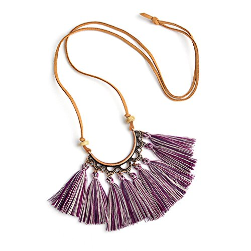 Vintage Statement Long Leather Rope Chain Boho Ethnic Tassel Pendant Necklace Choker Women Sweater Chain Clothing Accessories ()