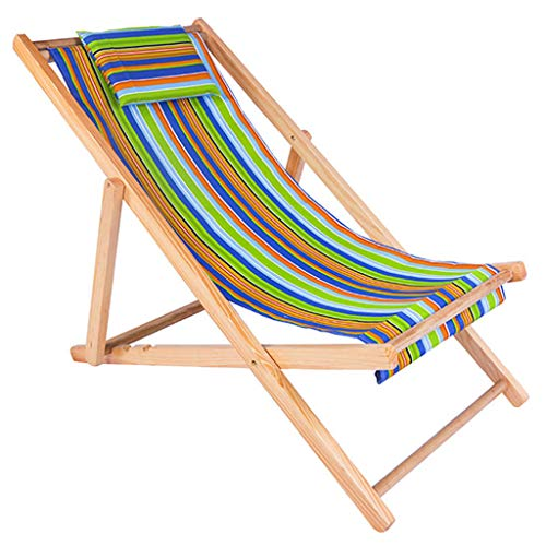 RHHWJJXB Beach Chair Folding Chair Solid Wood Recliner Canvas Chair Lunch Break Chair Chair Outdoor Portable Chair (Color : Multicolor, Size : 1285892cm)