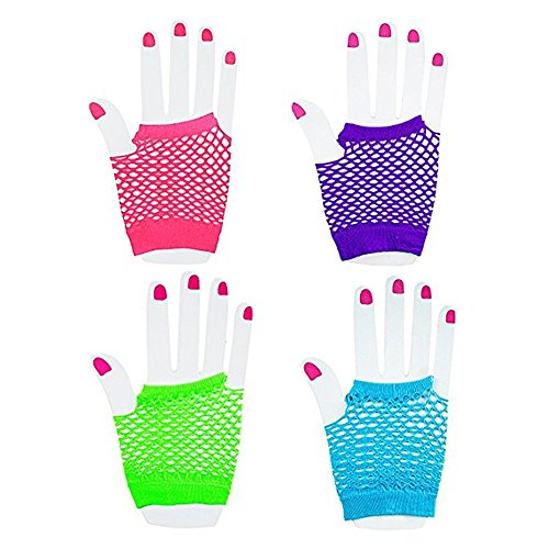 [Deco4Fun Set of Assorted Neon Color Fingerless Fishnet Gloves - CHOSE YOUR QUANTITY - Diva 80's Pop Rock Star Retro Rave Disco Costume Dress Up for Theme Party Event Favors (1 Dozen] (Throwback Halloween Costumes)