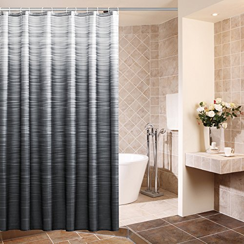 Uphome Stripe Pattern Bathroom Curtain