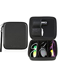 Eyeglass Sunglass Glasses Zippered Travel Storage Organizer 3 Compartment Case