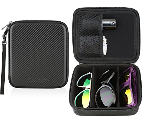 Sunglasses Eyeglasses Travel Storage Organizer 3 Compartment Display Case w/ glasses pouches (Carbon Fiber) by TYD LoO Case