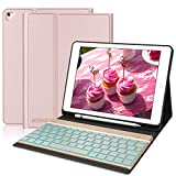 iPad Keyboard Case with Pencil Holder for iPad 2018(6th Gen) - iPad Pro 2017 (5th Gen) - iPad Pro 9.7 - iPad Air 2 and iPad Air - 7 Color Backlight - Auto Wake Sleep - iPad Case with Keyboard - Rose Gold