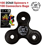 2CHILL 100 Fidgets Spinners + 100 Sets of 12Connectors by (Black) Bulk Bundle.