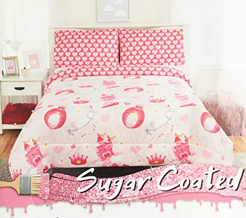 Sugar Coated Pink Carriage Wedding Comforter Set with Royal Horse, Castle, and Crown Print - 2 Piece Pink Princess Comforter Set (Twin)