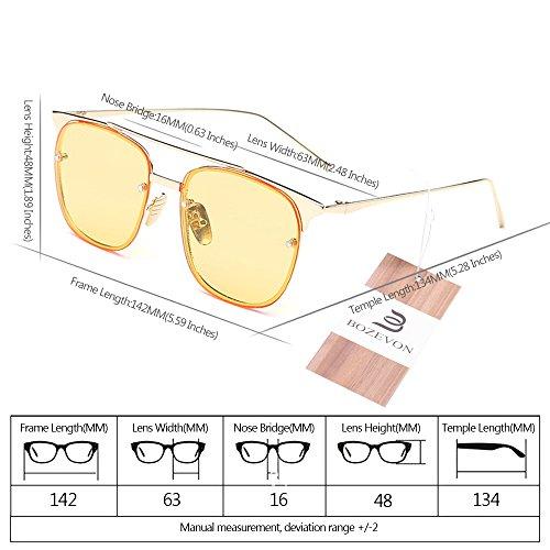 sol BOZEVON Mariposa Clásico Gafas Gafas Moda de Vintage de sol Amarillo Metal Marco Unisexo Mujeres Retro Hombres para y wXAErq4X