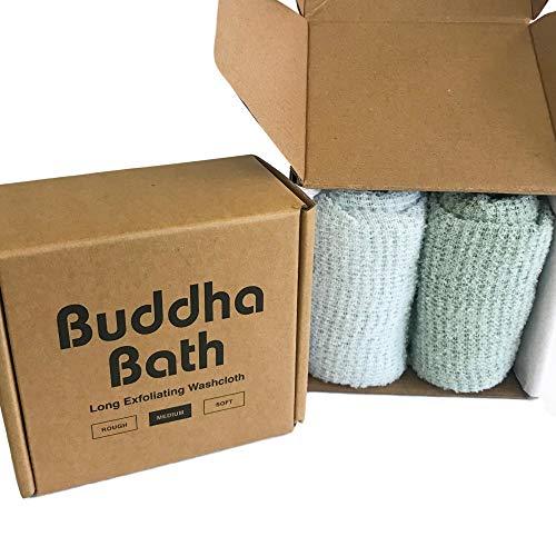 2 Pack - Buddha Bath Body Premium Medium Exfoliating Asian Shower Washcloth Towel - MED EXFOLIATING