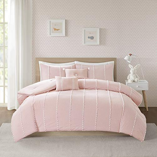 Urban Habitat Kids Ayden Cotton Gingham Comforter Set with Jacquard Pompoms, Full/Queen, Pink