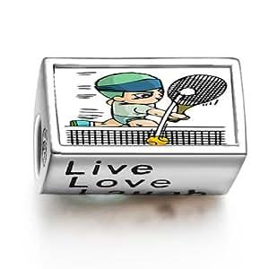 London 2012 Olympics de la raqueta de tenis aunque la foto del encanto del grano de ajuste Live Love Laugh Pandora Chamilia Biagi pulsera de cuentas encanto
