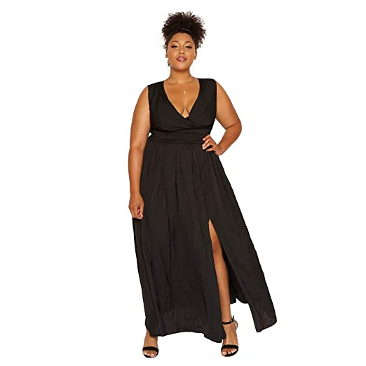 5764ac71262 Astra Signature Women s Plus Size Women Sleeveless Maxi Dress with Wrap  Deep V Neck Evening Party Dress at Amazon Women s Clothing store