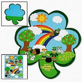 12 Shamrock St. Patricks Day Kids Sticker Scenes