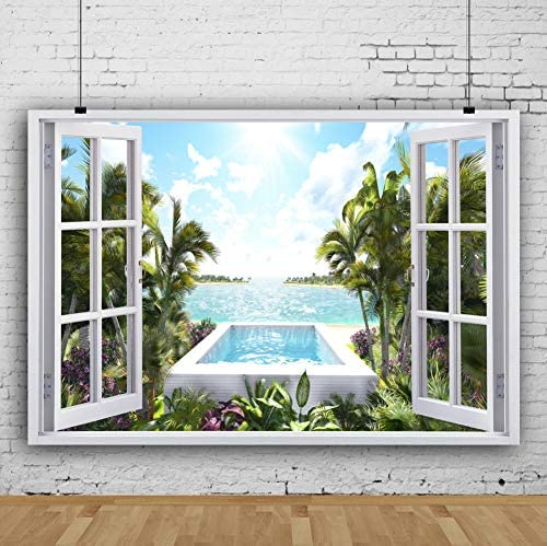 HD 7x5ft Ocean Scenery Backdrop Sailboat Coconut Palm Photography Background Themed Party Photo Booth YouTube Backdrop GYMT144