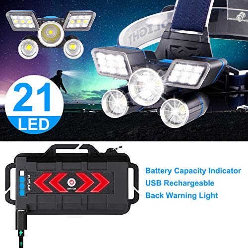 Headlamp, Brightest【21 LED 】9 Modes Work Headlamp, USB Rechargeable Waterproof Headlight Flashlight for Outdoor Camping, Cycling