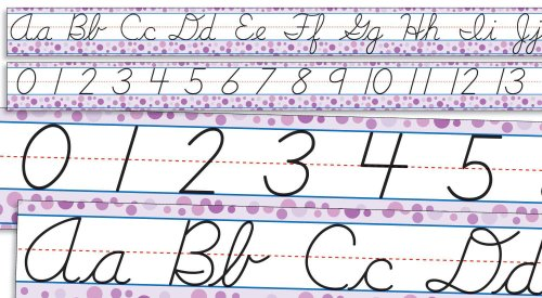 Modern Cursive Alphabet and Numbers 0-30 Bulletin Board
