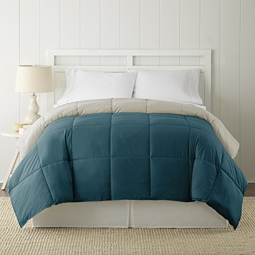 Amrapur Overseas | Goose Down Alternative Microfiber Quilted Reversible Comforter / Duvet Insert - Ultra Soft Hypoallergenic Bedding - Medium Warmth for All Seasons - [Queen, Coral Blue/Oatmeal]